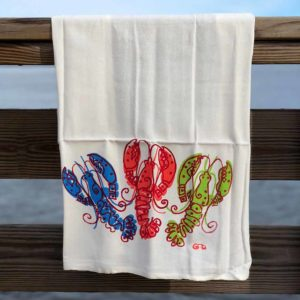 Colorful 3 Lobster Flour Sack Towels by Garden Fresh Design