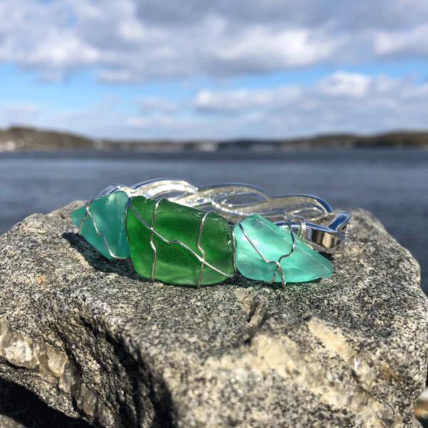 Aqua & Green Sea Glass Bracelet