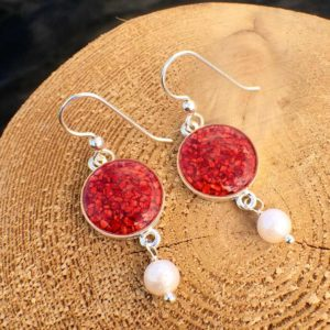 Crushed Lobster Shell Silver Earrings with Pearl