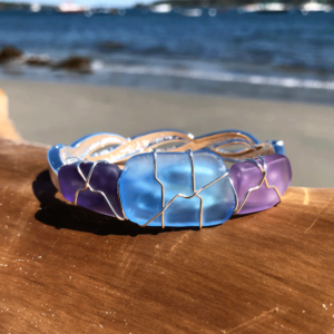 Light Blue & Purple Sea Glass Bracelet