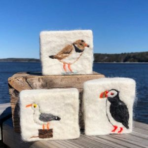 Alpaca Fleece, Felted Soaps with puffin, seagull and sandpiper.