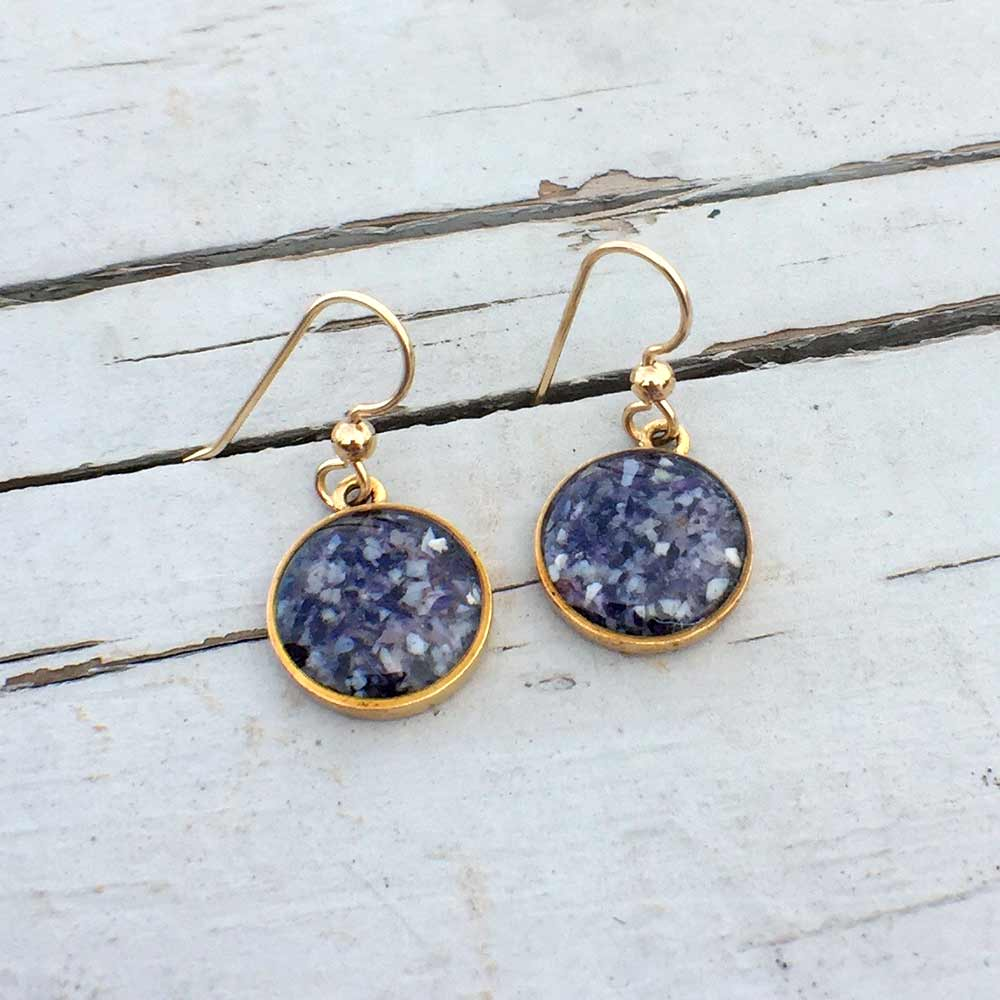 Gold Crushed Mussel Shell Earrings