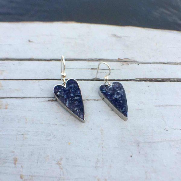Crushed Mussel Shell Silver Heart Earrings