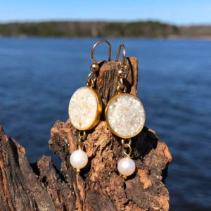 14K Gold Plated Crushed Oyster Shell Silver Earrings with Pearl
