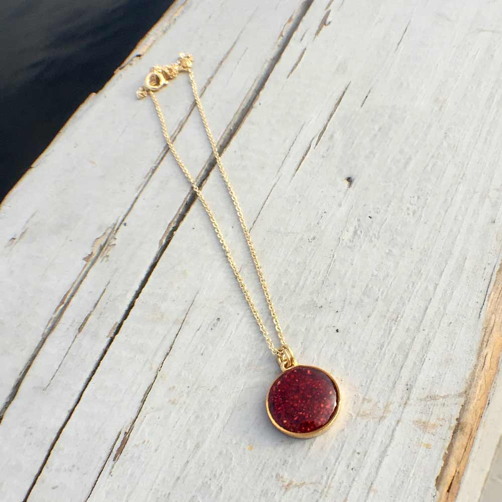 Crushed Lobster Shell Mini Gold Circle Necklace