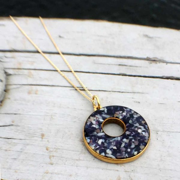 Crushed Mussel Shell Gold Holey Necklace
