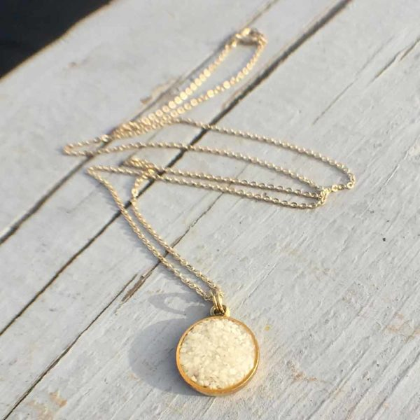 Crushed Oyster Shell Gold Mini Circle Necklace