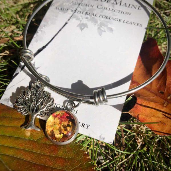 Fall Foliage Bangle Bracelet with Tree of Life Charm