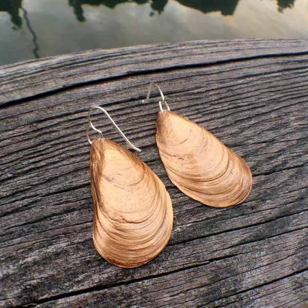 Mussel Shell Earrings with Gold back