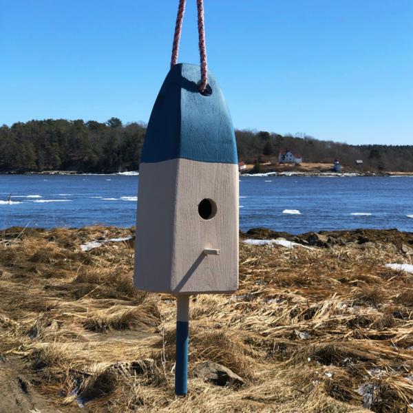 Blue Lobster Buoy Bird House