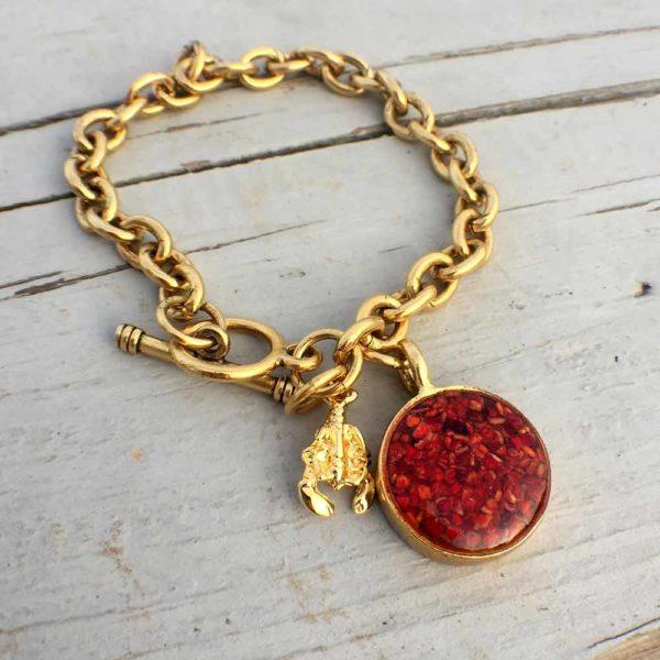 Crushed Lobster Shell Gold Charm Bracelet