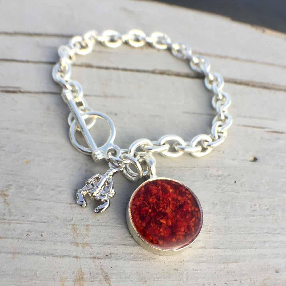 Crushed Lobster Shell Silver Charm Bracelet