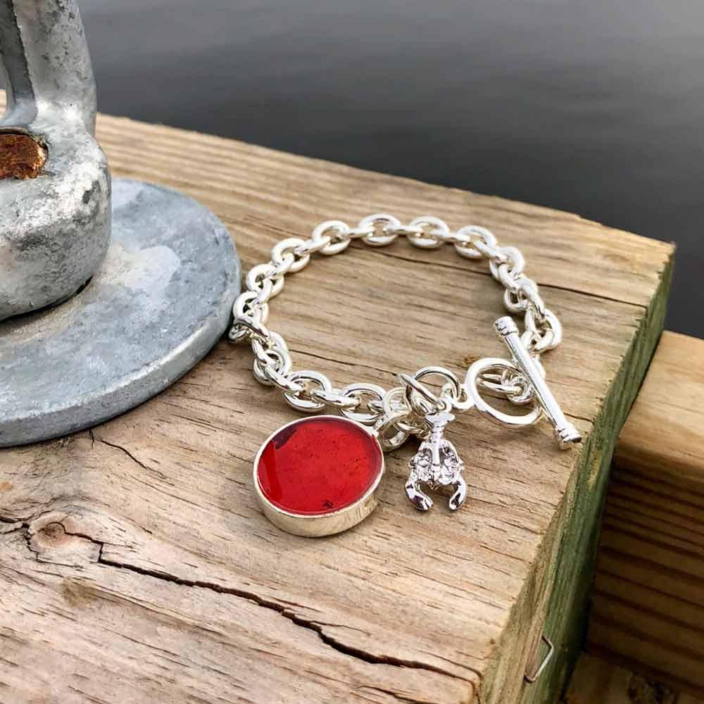 Lobster Shell Silver Charm Bracelet