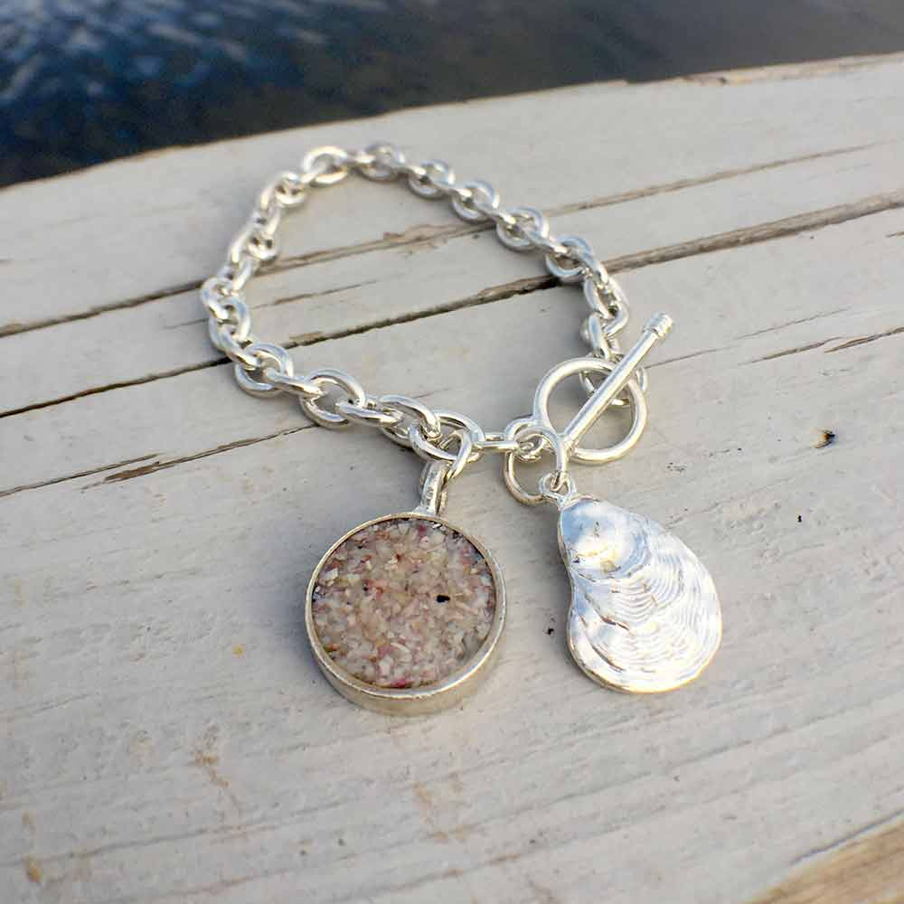 Crushed Oyster Shell Silver Charm Bracelet