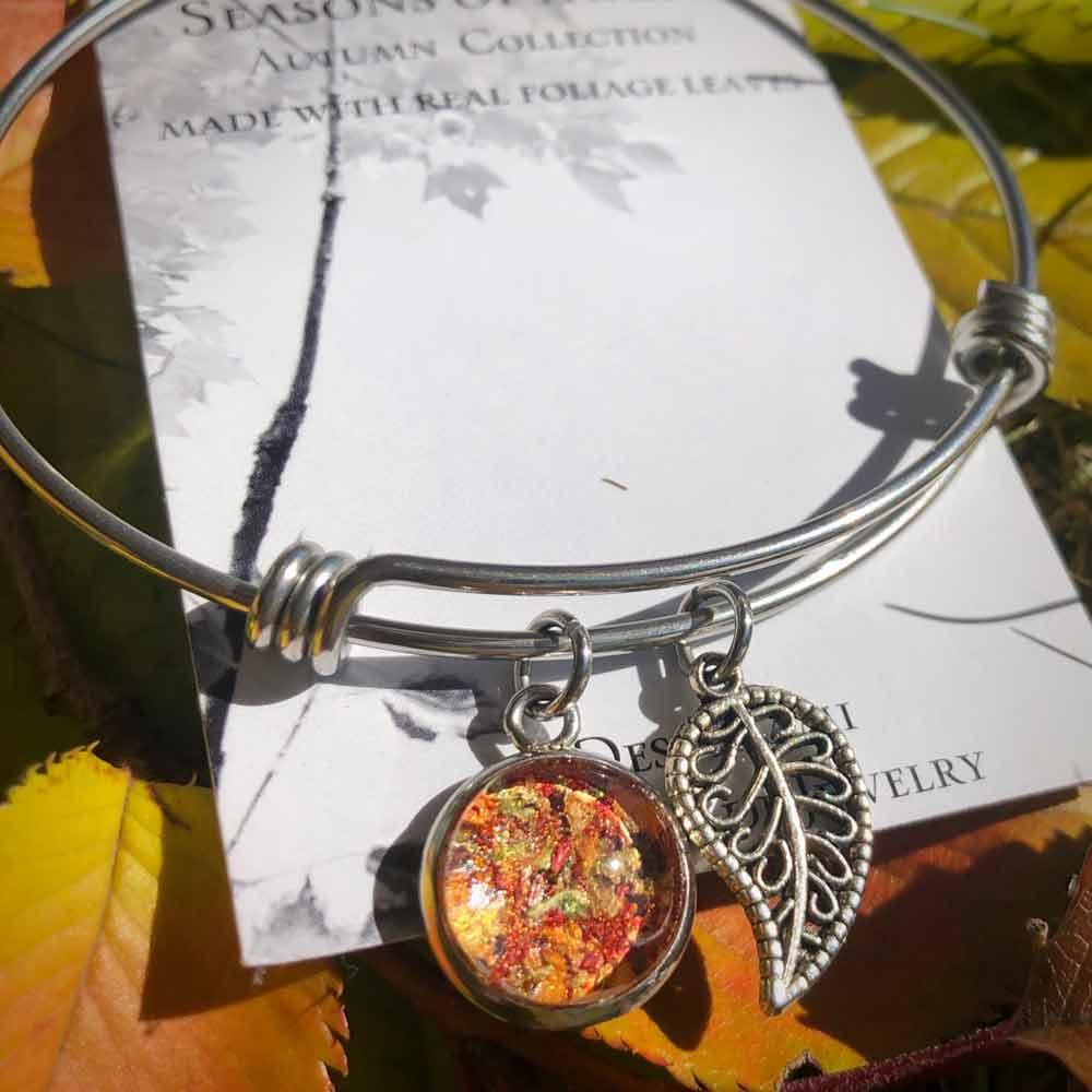 Fall Foliage Bangle Bracelet
