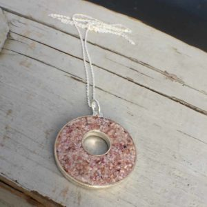 Crushed Oyster Shell Silver Holey Necklace