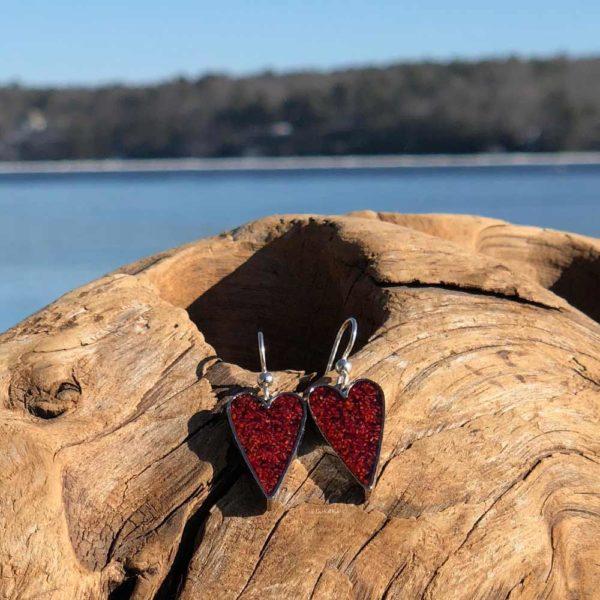 Crushed Lobster Shell Silver Heart Earrings