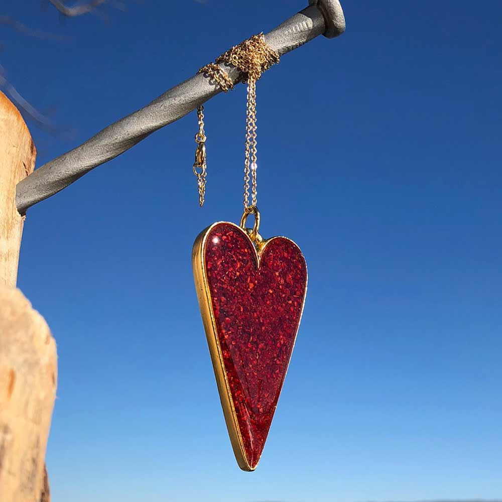 Crushed Lobster Shell Gold Heart Necklace