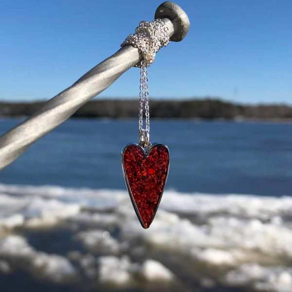 Crushed Lobster Shell Small Silver Heart Necklace