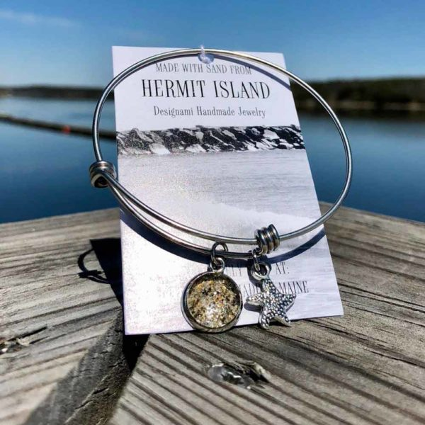 Hermit Island Beach Sand Charm Bangle Bracelet