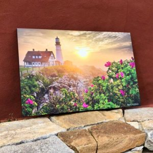 Portland Headlight & Beach Roses | Canvas by Benjamin Williamson
