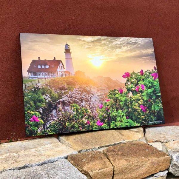 Portland Headlight & Beach Roses   Canvas by Benjamin Williamson