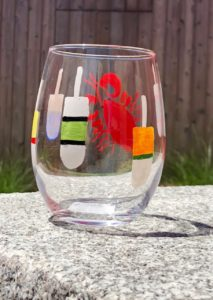 Lisa-Marie's Lobster & Buoy Hand Painted Stemless Wine Glass
