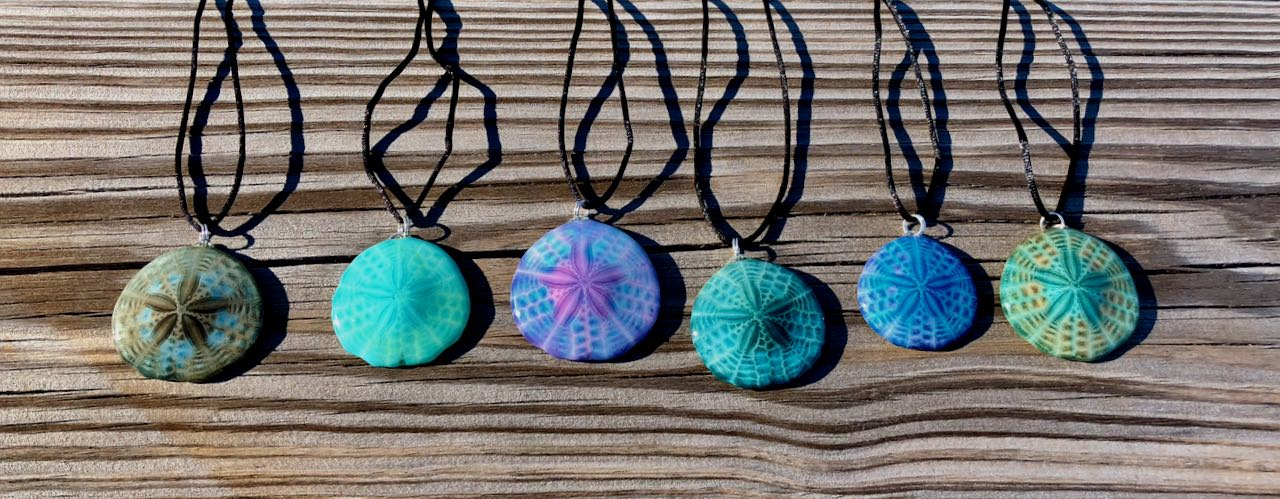 Sarah's Sand Dollars in a variety of blue hues.