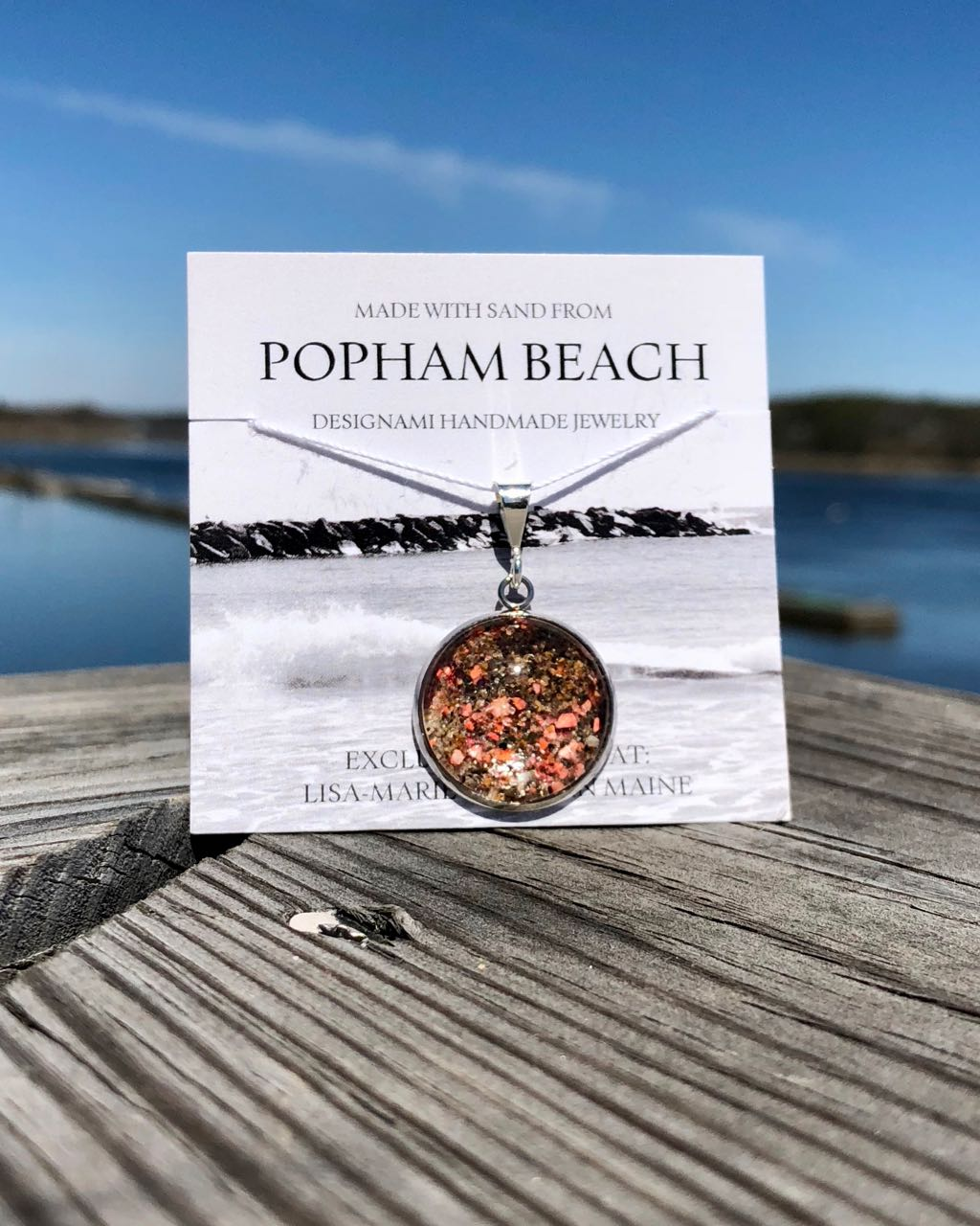 Popham Beach Sand with Lobster Shell Large Pendant, Popham Beach Sand with Lobster Shell Jewelry