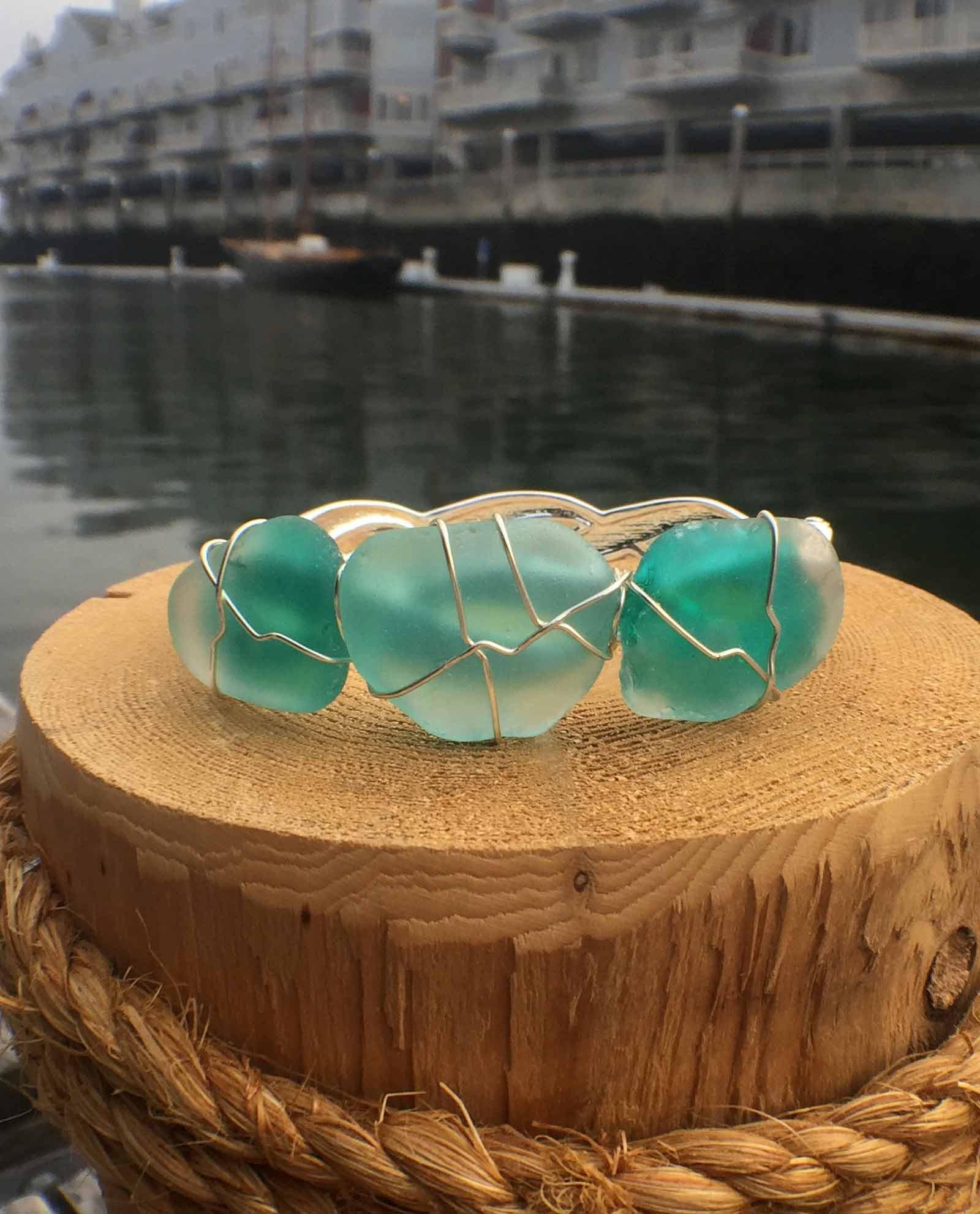 Teal Sea Glass Bracelet