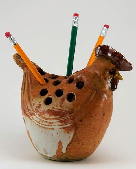 Westport Island Pottery Chicken Pencil Holder