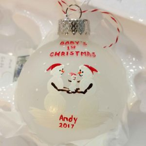"""Snowmen Family Ornament - Baby's First Christmas """"Andy 2017"""""""