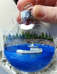Custom, Hand Painted Lobster Boat Ornament, Christmas 2017