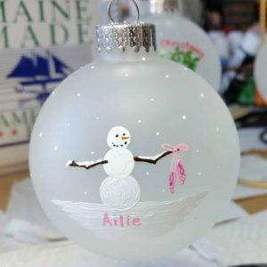 "Beth Doan Maine Artist Custom 2017 Ornament Snowman with Ballet Slippers - ""Ailie"""