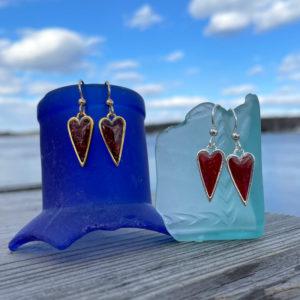 Lobster Shell Heart Earrings