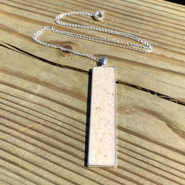 Crushed Oyster Shell Sterling Silver Rectangle Necklace