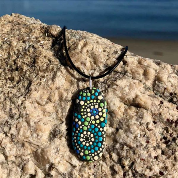Teal & Melon Dot Beach Stone Necklace