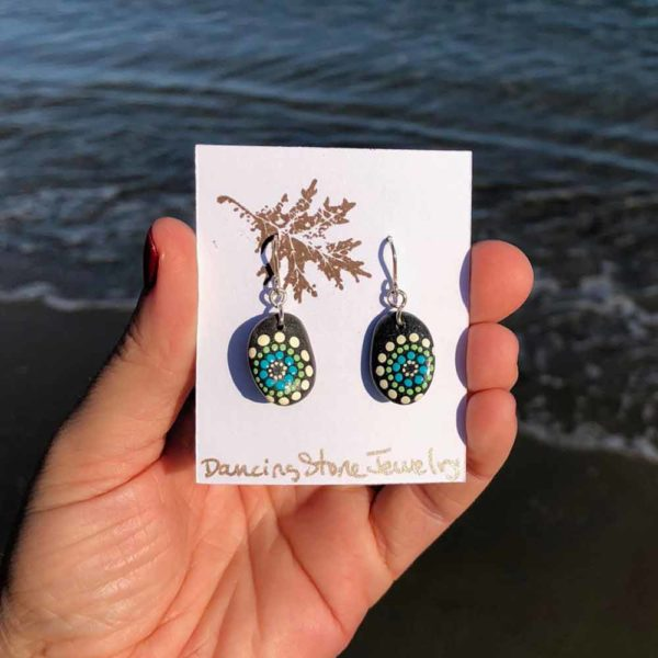 Teal & Melon Dot Hand Painted Beach Stone Earrings