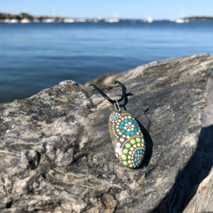 Lima Blue Dot Beach Stone Necklace