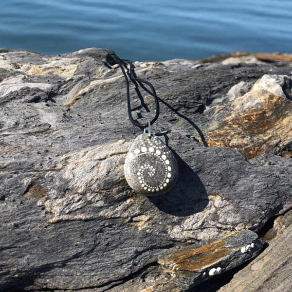 White Wave Beach Stone Necklace