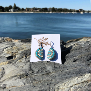 Teal & White Dot Hand Painted Beach Stone Earrings