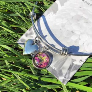 Fuscia Flower Petal & Leaves Bangle Bracelet