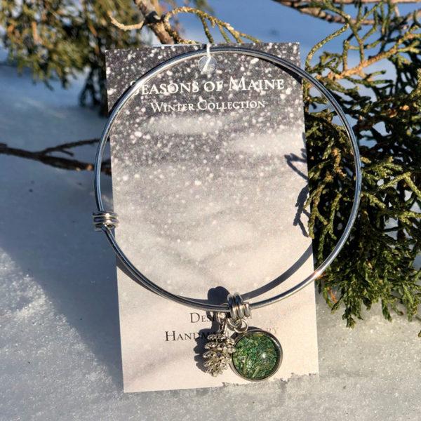 Pine Needle Bangle Bracelet