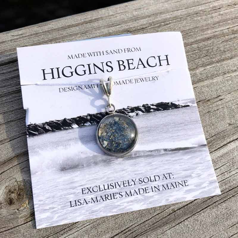 Higgins Beach Sand with Crushed Mussel Shell Pendant