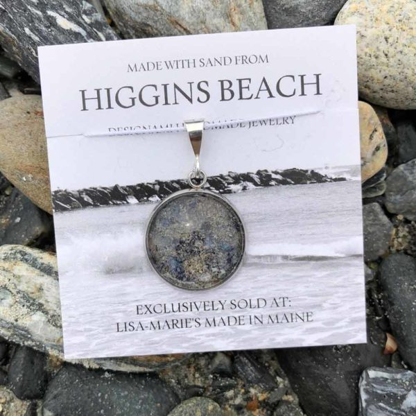 Large Higgins Beach Sand with Crushed Mussel Shell Pendant