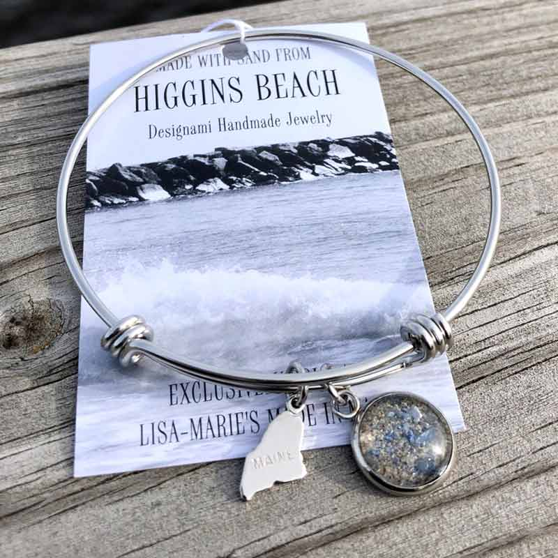 Higgins Beach Sand with Crushed Mussel Shell Bangle Bracelet