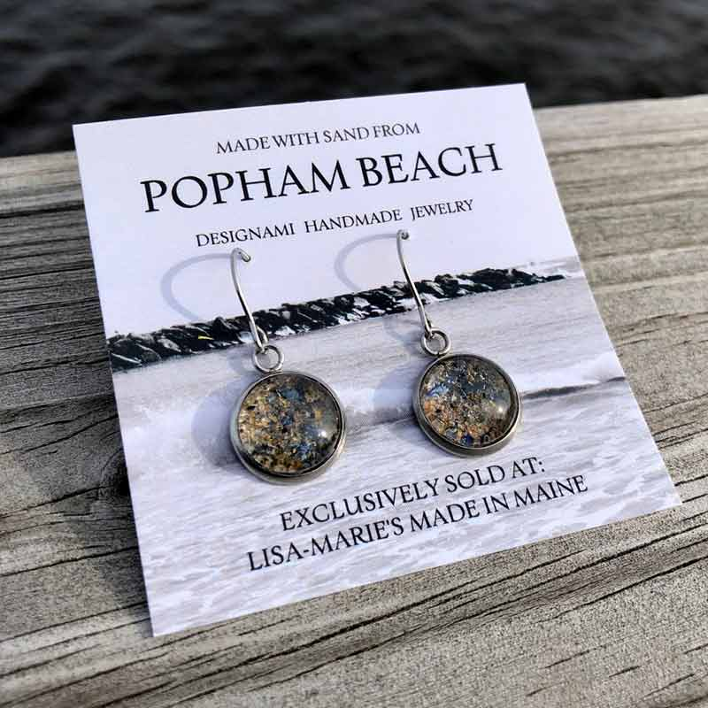 Popham Beach Sand with Crushed Mussel Shell Earrings