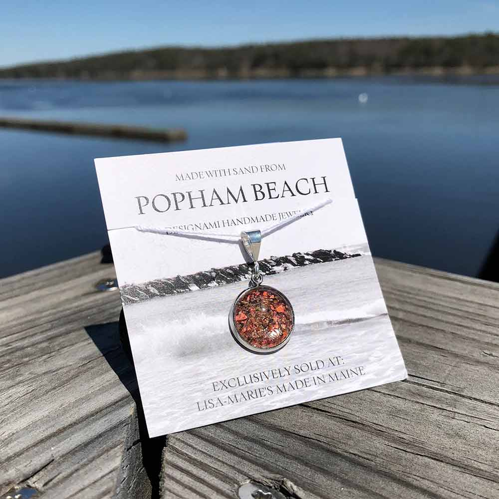 Small Popham Beach Sand with Crushed Lobster Shell Pendant
