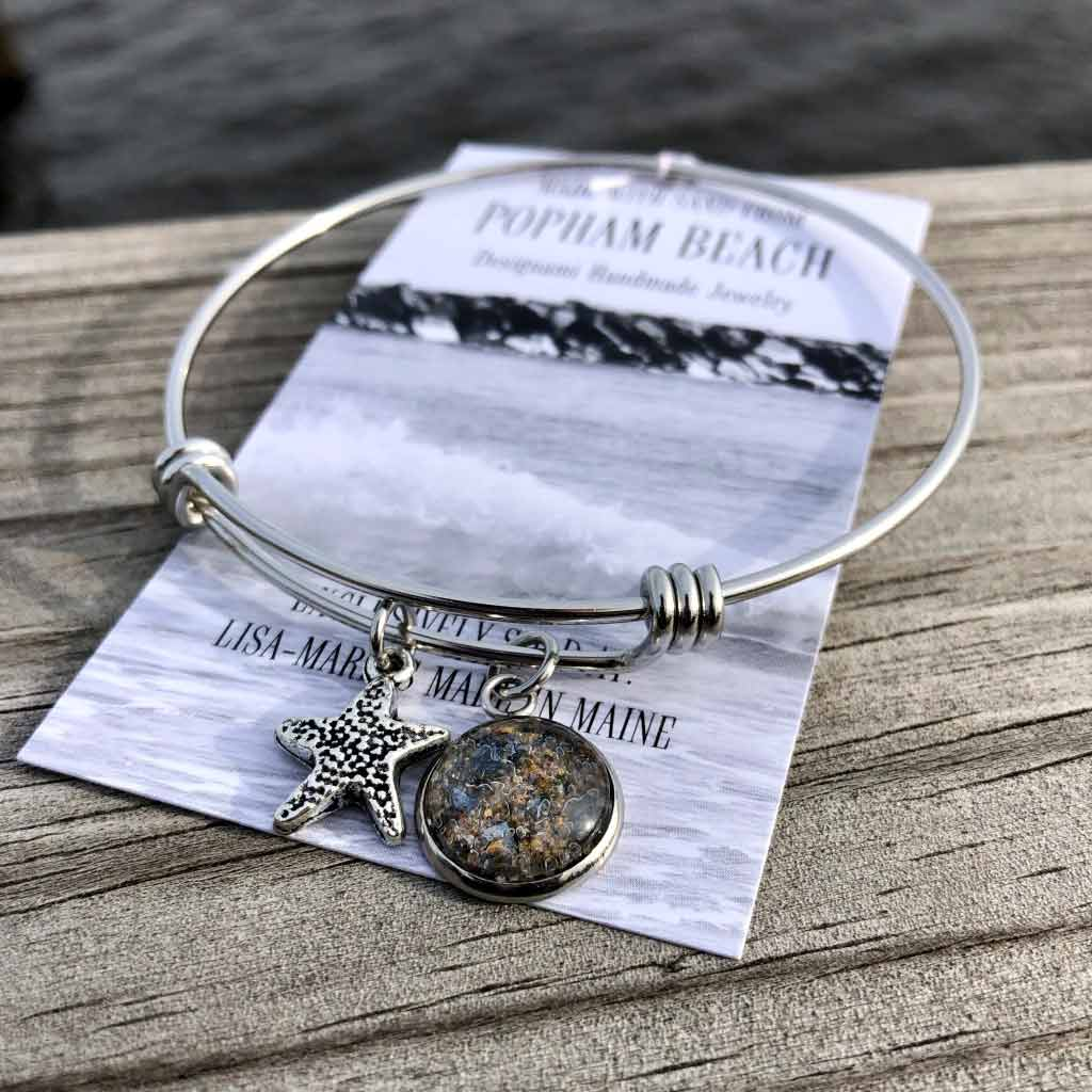 Popham Beach Sand with Crushed Lobster Shell Charm Bangle Bracelet