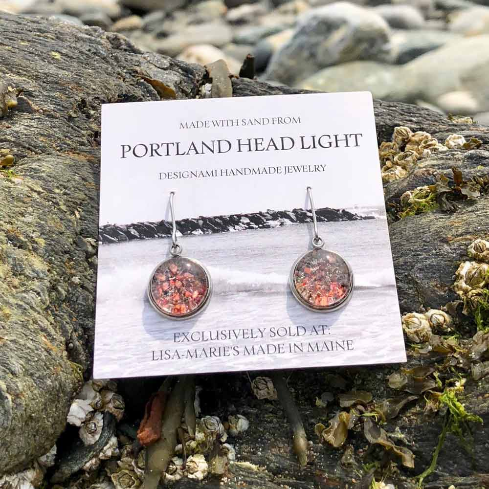 Portland Head Light Beach Sand with Crushed Lobster Shell Earrings